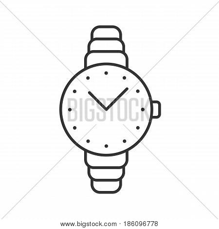 Women's wristwatch linear icon. Thin line illustration. Contour symbol. Vector isolated outline drawing