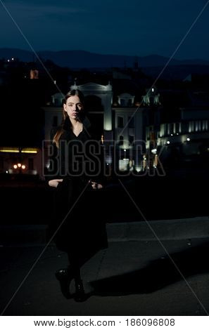 Girl In Light Of Street Lamps, Woman At Night City