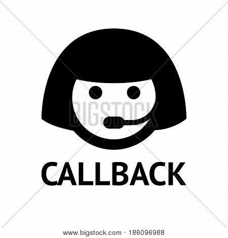 assistance icon. Symbol black on white background