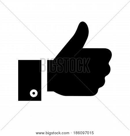 thumbs up icon. Symbol black on white background