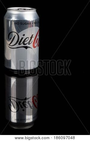 London, United Kingdom - May 11, 2017. Can of Diet Coke. Diet Coke is sweatened with aspartame instead of sugar.