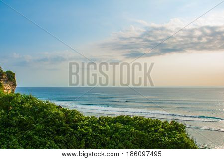 Top View Of The Sea In Bali. Indonesia. Uluwatu, Pantai Suluban.