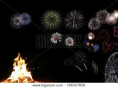 Bonfire And Fireworks