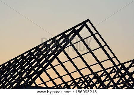 Steel roof structure of the house, Silhouette image.