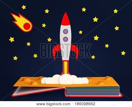 Pop up book with rocket launch. 3D rendering
