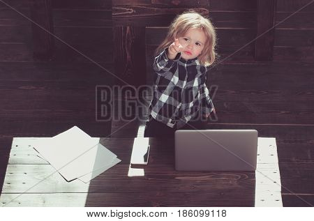 Child, Small Business Boy With Phone And Computer In Office