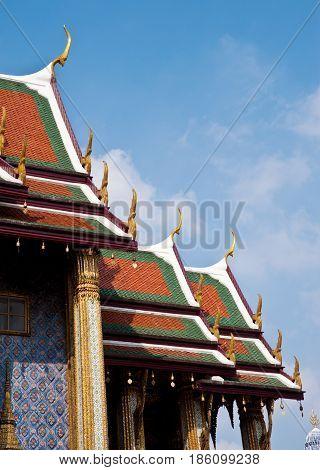 Thai temple church and nice blue sky
