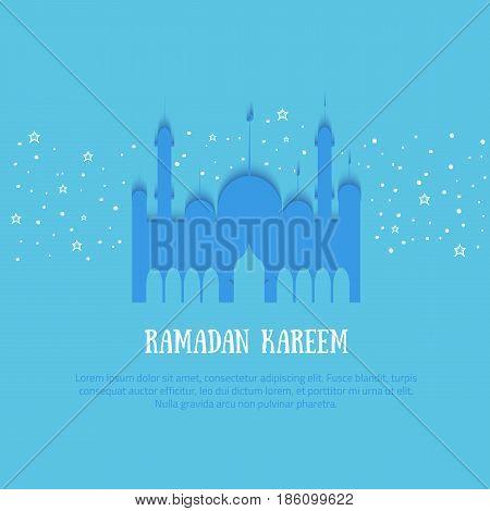 Ramadan Kareem colorful vector illustration with typography and palace, stars. Minimalistic paper illustration.