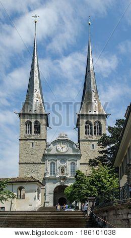 The Church Of St. Leodegar Or Hofkirche St. Leodegar In Lucerne, Switzerland