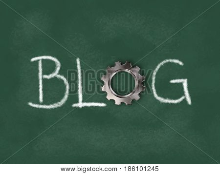 the word blog with gear wheel on chalkboard - 3d illustration