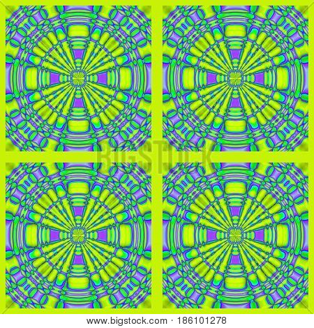 Abstract geometric seamless background. Regular concentric circles ornament purple and green in lemon lime green squares framed, ornate and dreamy.
