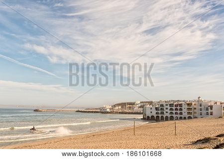 LANGEBAAN SOUTH AFRICA - APRIL 1 2017: The Club Mykonos Resort and harbor in Langebaan a town on the Atlantic Coast of the Western Cape Province