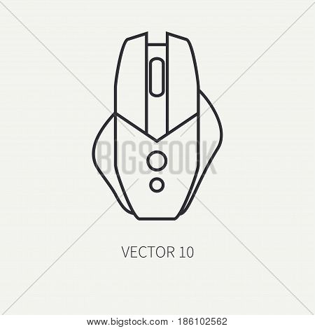 Line flat vector computer part icon mouse. Cartoon style. Digital gaming and business office pc desktop device. Innovation gadget. Scroll. Internet. Illustration and element for design and wallpaper.