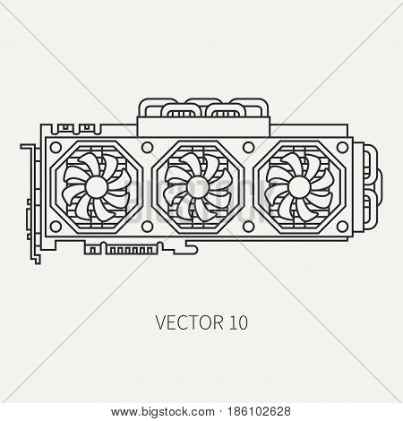 Line flat vector computer part icon video card. Cartoon style. Digital gaming and business office pc desktop device. Innovation gadget. Data. Internet. Illustration and element for design, wallpaper.