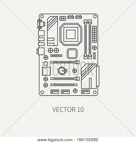 Line flat vector computer part icon motherboard. Cartoon style. Digital gaming and business office pc desktop device. Innovation gadget. Graphic chip. Illustration and element for design, wallpaper.