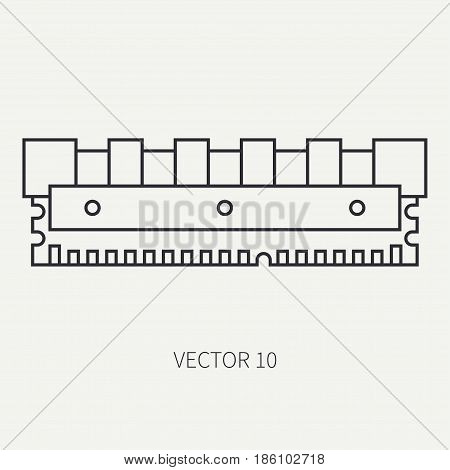Line flat vector computer part icon data storage. Cartoon style. Digital gaming and business office pc desktop device. Innovation gadget. Ddr. Internet. Illustration and element for design, wallpaper.
