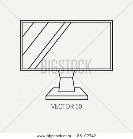 Line flat vector computer part icon lcd video monitor. Cartoon style. Digital gaming and business office pc desktop device. Innovation gadget. Internet. Illustration and element for design, wallpaper.