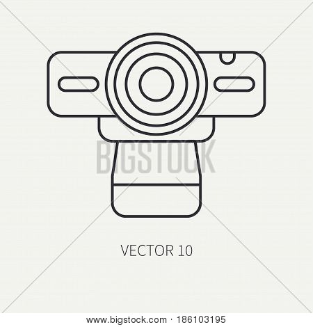 Line flat vector computer part icon web camera. Cartoon style. Digital gaming and business office pc desktop device. Innovation gadget. Stream. Internet. Illustration and element for design, wallpaper