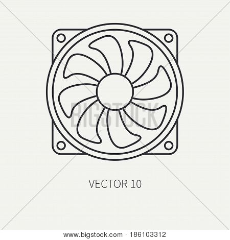 Line flat vector computer part icon cooling fan. Cartoon style. Digital gaming and business office pc desktop device. Innovation gadget. Hardware. Flow. Illustration and element for design, wallpaper.
