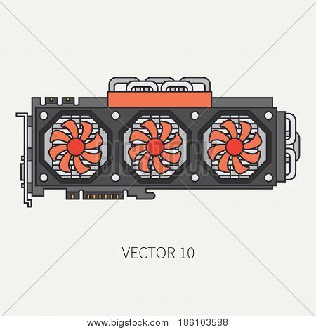 Line flat color vector computer part icon video card. Cartoon. Digital gaming and business office pc desktop device. Innovation gadget. Data. Internet. Illustration and element for design, wallpaper.