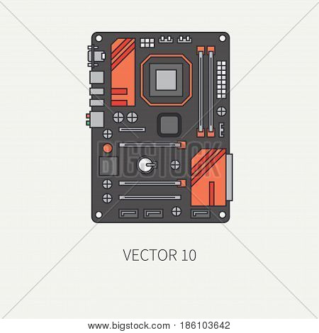 Line flat color vector computer part icon motherboard. Cartoon. Digital gaming and business office pc desktop device. Innovation gadget. Graphic chip. Illustration and element for design, wallpaper.