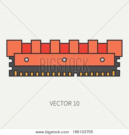 Line flat color vector computer part icon data storage. Cartoon. Digital gaming and business office pc desktop device. Innovation gadget. Ddr. Internet. Illustration and element for design, wallpaper.