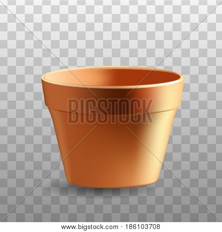 Realistic flowerpot isolated on transparent background - vector design