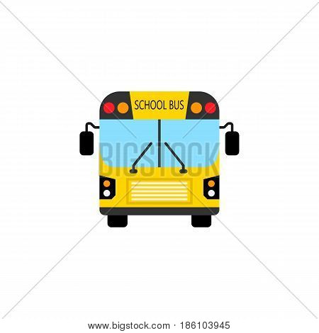 School bus flat icon, student transport, high school service vector graphics, a colorful solid pattern on a white background, eps 10.
