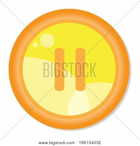 Isolated web button with a pause symbol, Vector illustration