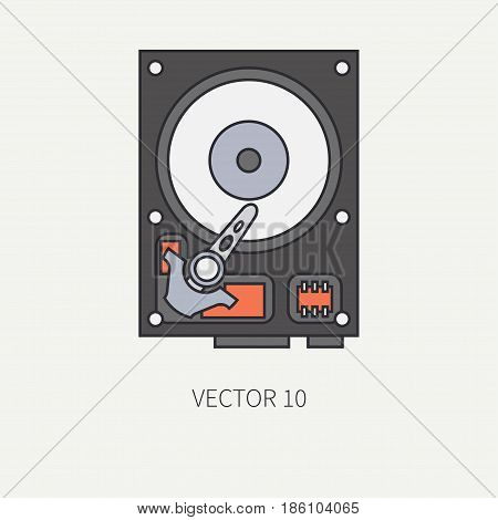 Line flat color vector computer part icon data storage hdd. Cartoon. Digital gaming and business office pc desktop device. Innovation gadget. Plate. Illustration and element for design, wallpaper.