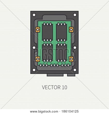 Line flat color vector computer part icon data storage ssd. Cartoon. Digital gaming and business office pc desktop device. Innovation gadget. Tech. Chip. Illustration and element for design, wallpaper