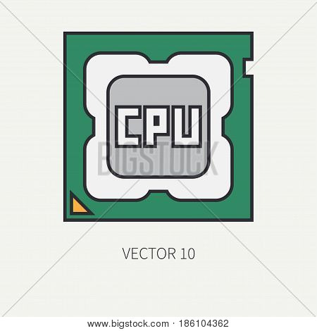 Line flat color vector computer part icon processor. Cartoon. Digital gaming and business office pc desktop device. Innovation gadget. Hardware. Chip cpu. Illustration and element for design wallpaper