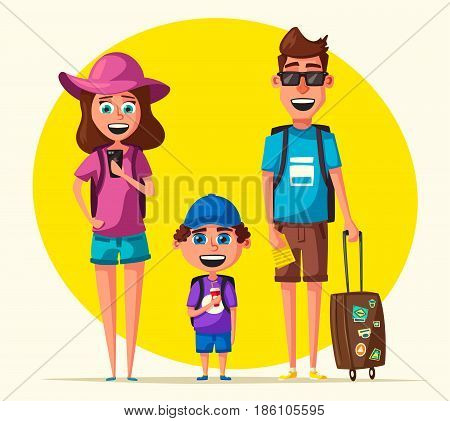 Happy family in travel. Journey of parents and child. Cartoon vector illustration. Character design on travelers. Family having summer holidays trip. People ready for sightseeing tour. Travelling together