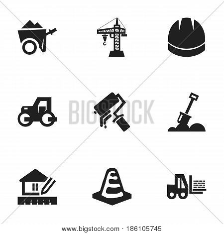 Set Of 9 Editable Building Icons. Includes Symbols Such As Handcart , Hardhat , Caterpillar. Can Be Used For Web, Mobile, UI And Infographic Design.
