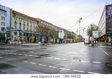 BERLIN, GERMANY- December 14,2016 : Typical Street view March 4,2017 in Berlin, Germany. Berlin is the capital of Germany. With a population of approximately 3.5 million people.BERLIN, GERMANY
