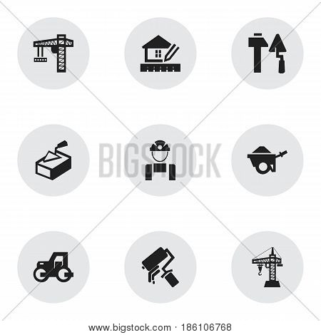 Set Of 9 Editable Construction Icons. Includes Symbols Such As Home Scheduling, Spatula, Construction Tools And More. Can Be Used For Web, Mobile, UI And Infographic Design.
