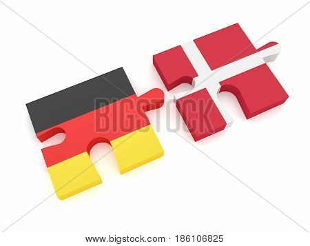 Germany Denmark Partnership: German Flag And Danish Flag Puzzle Pieces 3d illustration on white background