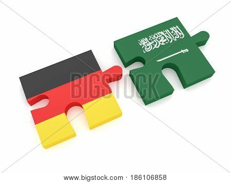 Germany Saudi Arabia Partnership: German Flag And Saudi Arabian Flag Puzzle Pieces 3d illustration on white background