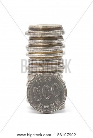 Stack Of Korean Coins
