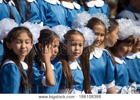 Shymkent, KAZAKHSTAN - May 9, 2017: Children's Choir. The feast of the victory of the Red Army and Soviet people in the Great Patriotic War of 1941-1945.