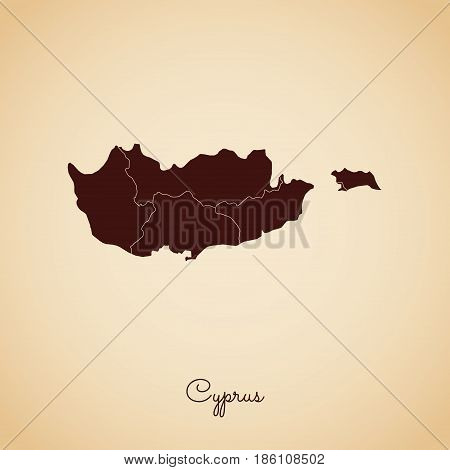 Cyprus Region Map: Retro Style Brown Outline On Old Paper Background. Detailed Map Of Cyprus Regions