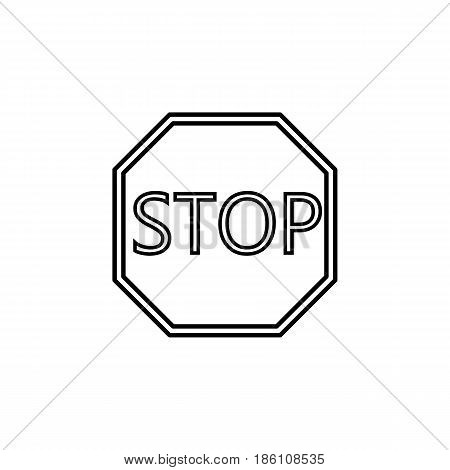 Stop line icon, Traffic regulatory and warning stop sign, vector graphics, a linear pattern on a white background, eps 10.