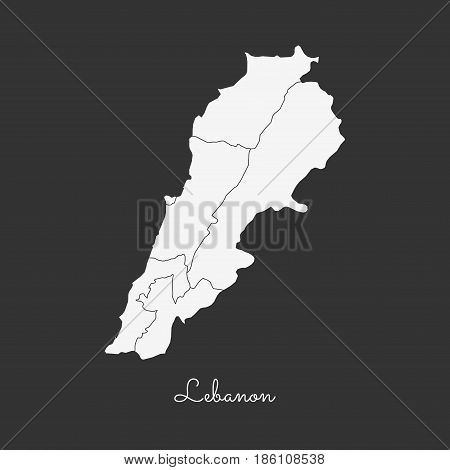Lebanon Region Map: White Outline On Grey Background. Detailed Map Of Lebanon Regions. Vector Illust
