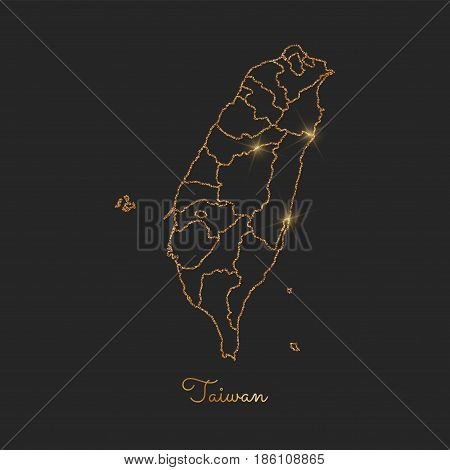 Taiwan Region Map: Golden Glitter Outline With Sparkling Stars On Dark Background. Detailed Map Of T