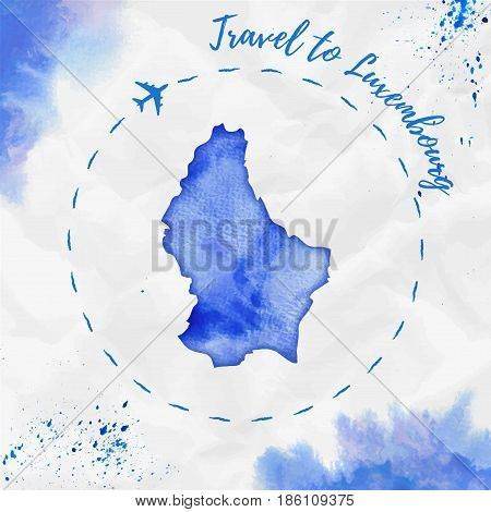 Luxembourg Watercolor Map In Blue Colors. Travel To Luxembourg Poster With Airplane Trace And Handpa