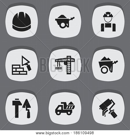 Set Of 9 Editable Construction Icons. Includes Symbols Such As Lifting Equipment, Trolley, Scrub And More. Can Be Used For Web, Mobile, UI And Infographic Design.