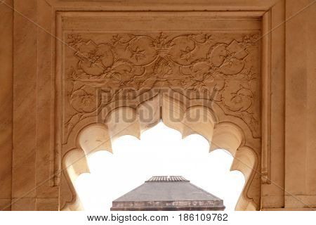 AGRA, INDIA - FEBRUARY 14: Red Fort stone carving pattern detail in Agra. Uttar Pradesh, India on February 14, 2016.