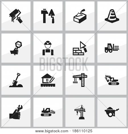 Set Of 16 Editable Construction Icons. Includes Symbols Such As Mule, Spatula, Endurance And More. Can Be Used For Web, Mobile, UI And Infographic Design.