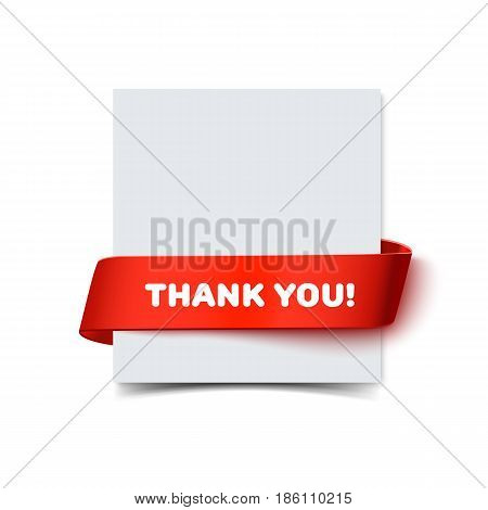 Paper greeting card with curved red gift ribbon and text Thank You isolated on white. Realistic vector illustration of white paper note card with ribbon with space