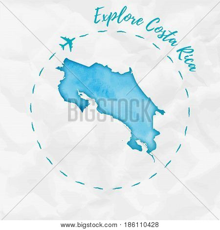 Costa Rica Watercolor Map In Turquoise Colors. Explore Costa Rica Poster With Airplane Trace And Han